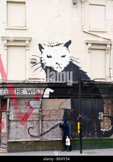 Banksy rat stock photos banksy rat stock images alamy for Banksy rat mural