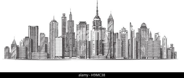 Architectural Modern Buildings In Panoramic View Sketch Vector Illustration