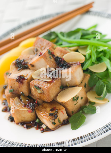 Panfried Tofu With Asian Caramel Sauce Recipe — Dishmaps