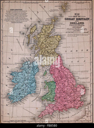 Map Of Britain And Ireland Stock Photos  Map Of Britain And