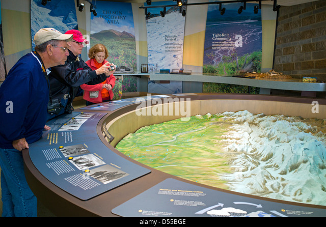 Park Visitors View A Three Dimensional Topographical Map On Display Eielson Visitor Center Denali