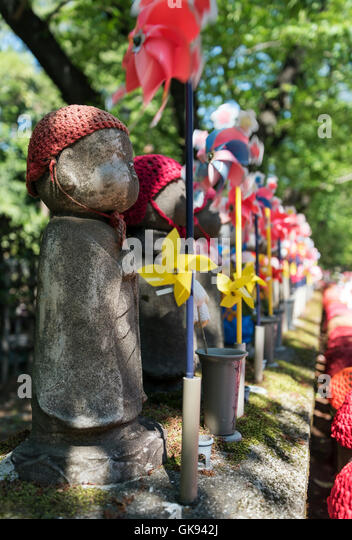Jizo Statues At Unborn Children Garden, Zojoji Temple, Tokyo, Japan   Stock  Image