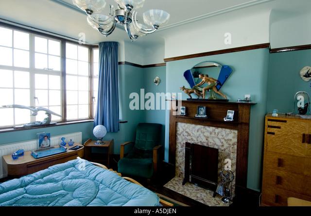 Refurbished art deco art nouveau 1930 s house interior bedroom blue colour stock photo - Deco bed kind ...
