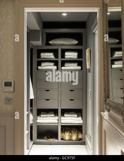 Walk-in wardrobe made by the English Joinery Company - Stock Image