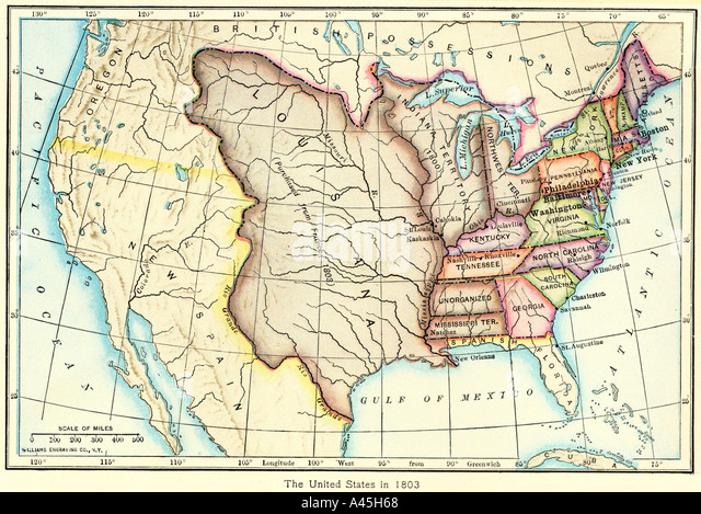map of the us of the louisiana purchase as understood in 1803 later modified by