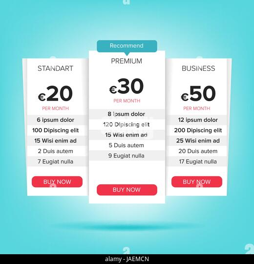 Pricing Plan Template Stock Photos & Pricing Plan Template Stock