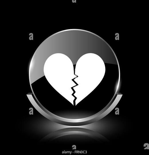 Broken Heart Symbol Black and White Stock Photos & Images ...