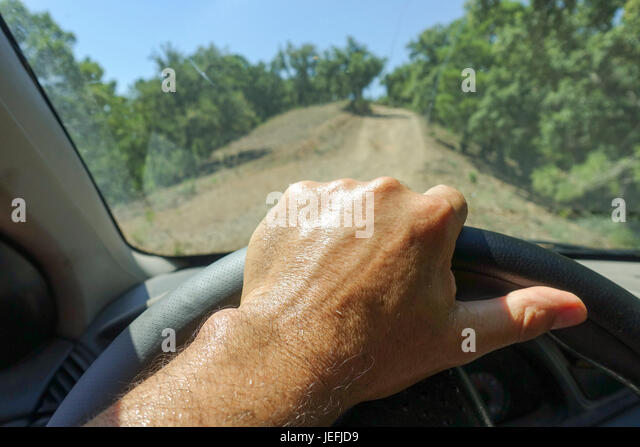 hand on steering wheel stock photos hand on steering wheel stock images alamy. Black Bedroom Furniture Sets. Home Design Ideas