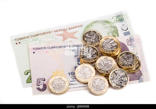 british and turkish currency stock image