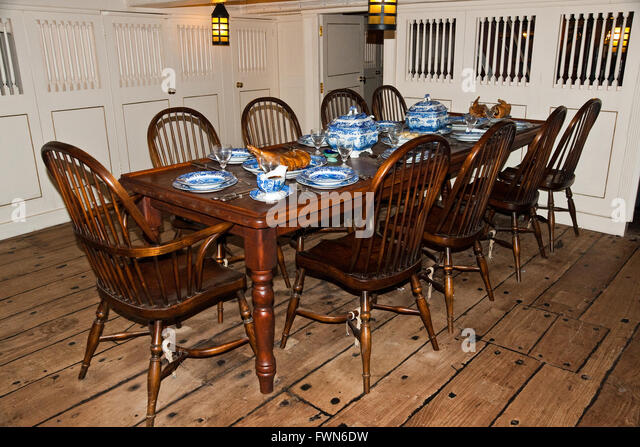 The Wardroom Table Set For Dinner Aboard HMS Trincomalee Nelson Era Frigate Restored