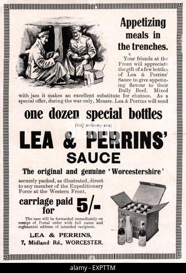 1910s Uk Lea And Perrins Worcestershire Sauce Magazine Advert Stock Image