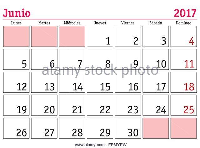 June Month In Spanish Calendar Stock Photos & June Month In ...