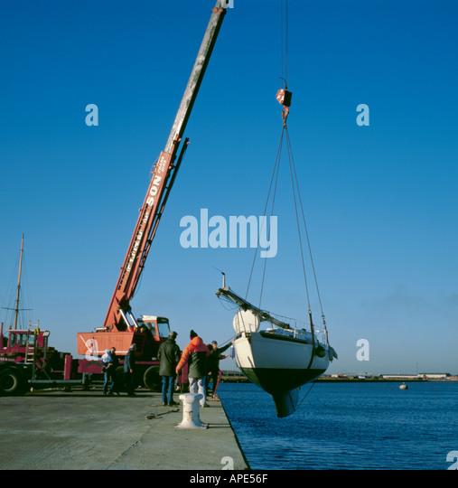 Yacht Hydraulic Crane : Plimsoll line on boat stock photos