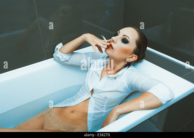 Smoking cigarettes in the bathroom