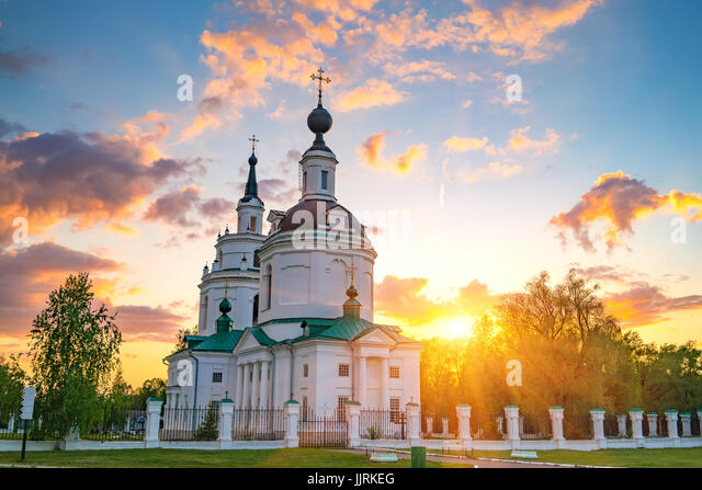 Orthodox church at sunset - Stock Image