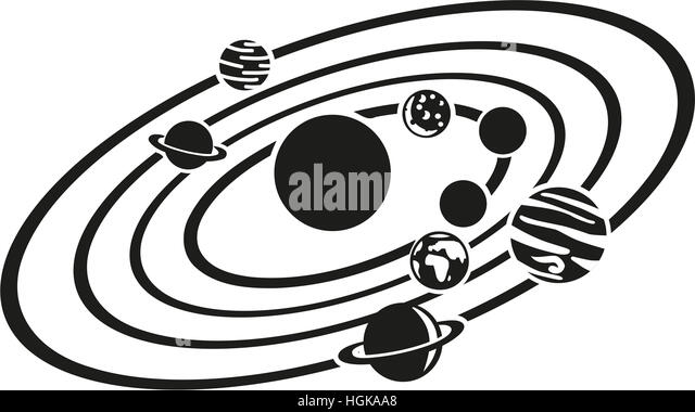 solar system black and white clipart - photo #26