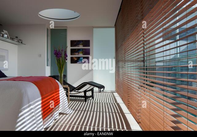 Light Filters Through Venetian Blinds Into Modern Bedroom, Lavender House,  Hampstead, London