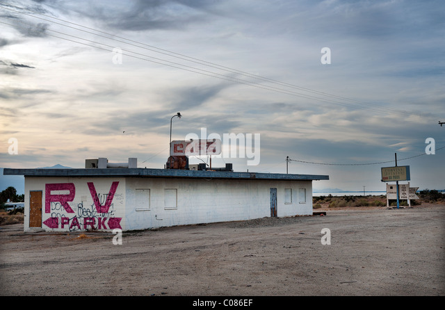Abandoned Building At The Entrance Of An RV Park On Shore Salton Sea