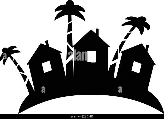Summer Bungalow Icon In Outline Design Beach Hut Logotype Silhouette Vector Illustration