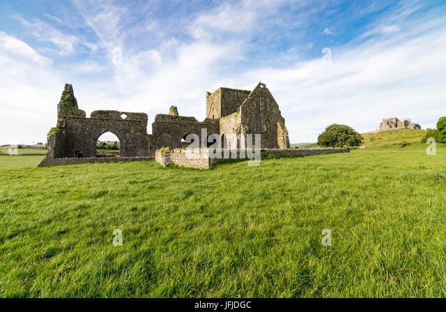 Hore Abbey and Rock of Cashel on the background, Cashel, Co, Tipperary, Munster, Ireland, Europe, - Stock Image