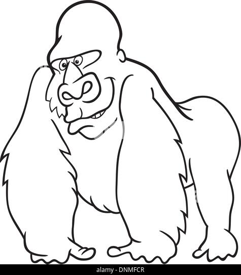 cartoon illustration of silver gorilla for coloring book stock image