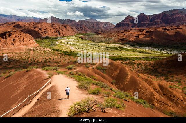 The road from Cachi to San Antonio de los Cobres, in Puna region of Salta in northern Argentina - Stock Image