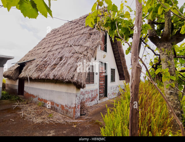 portugal madeira traditional rural house in santana stock image