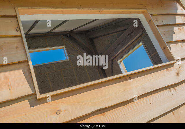 outside office shed. Three Empty Windows Spaces In An Outside Office Shed / Building. - Stock Image D