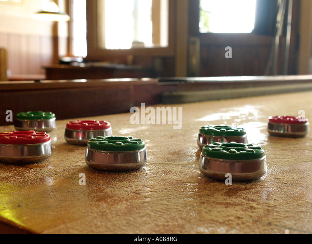 An Antique Table Top Shuffleboard Game At A Local Bar   Stock Image