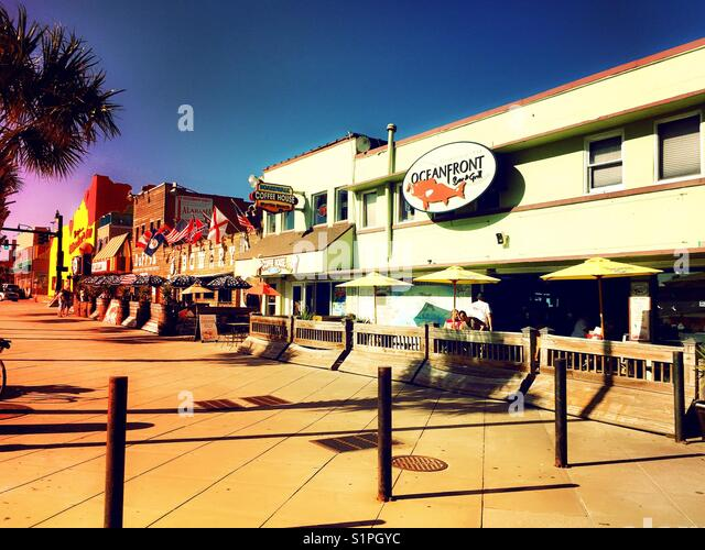 Oceanfront Boardwalk Shops And Bars Myrtle Beach South Carolina USA