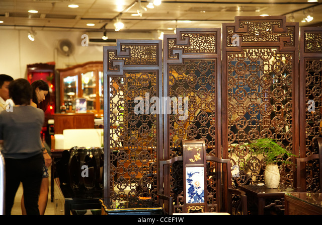 Traditional Chinese Wooden Furniture Screen On Sale In A Store In Wan Chai  Hong Kong Hksar