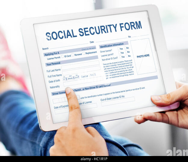 Social Security Application Form Concept Stock Photos & Social