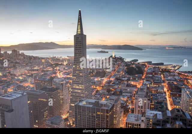San Francisco Financial District and Bay, Dusk - Stock Image