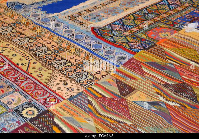 Rugs On Display, Morocco   Stock Image