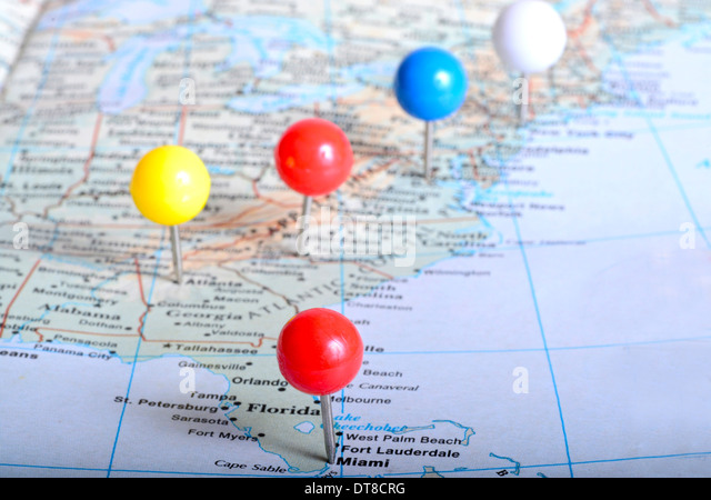 Map Of Eastern Us With Pin Tags On It Placed On Major Cities Stock Image