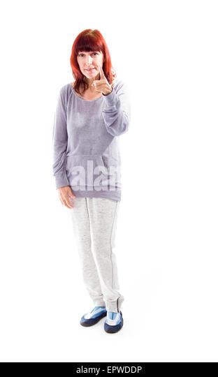Mature Woman Pointing Towards Camera Stock Photos & Mature Woman ...
