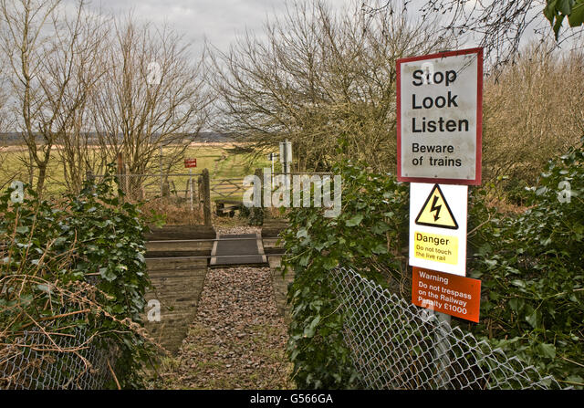 Lower Boddington United Kingdom  city photos gallery : Beware of trains' warning sign at pedestrian crossing over London to ...