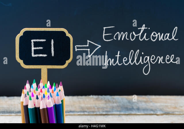 emotional intelligence stock photos emotional intelligence stock  business acronym ei emotional intelligence written chalk on wooden mini blackboard labels and chalkboard background