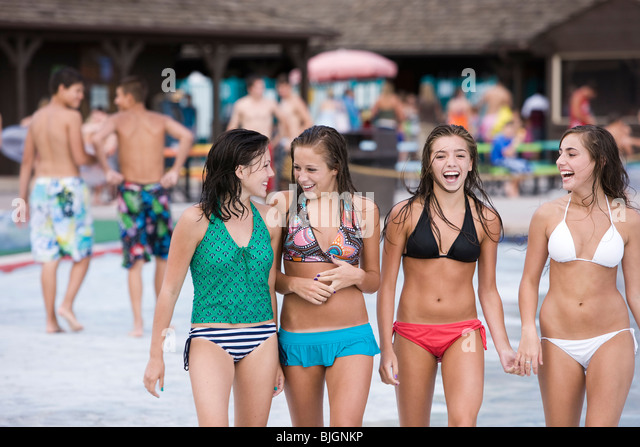 Teen Girl At Water Park Stock Photo Getty Images