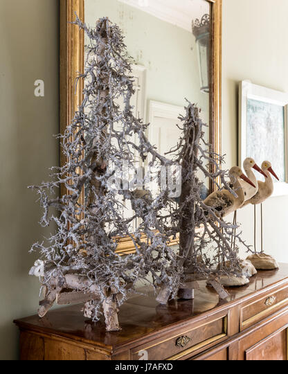 Decorative Twig Christmas Trees On Hallway Console Table   Stock Image