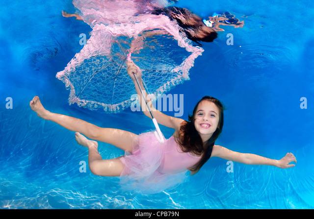 Umbrella Girl Underwater By