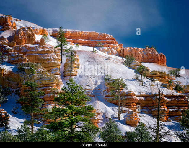 Red Canyon with snow. Utah Bryce National Park, Utah - Stock Image