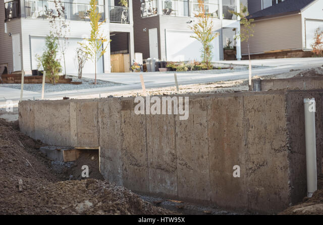 Construction Site Building Concrete Foundation Stock