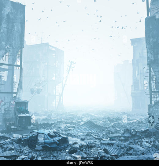ruins of a city  in a fog. 3d illustration concept - Stock Image