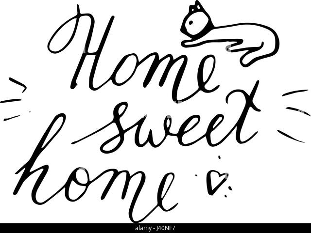 home sweet home clipart black and white. home sweet postcard with cat hand drawn vector background ink illustration modern clipart black and white
