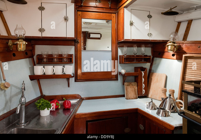 Cabin Interior   Kitchen Draining Board, Shelving And Worktops   Stock Image