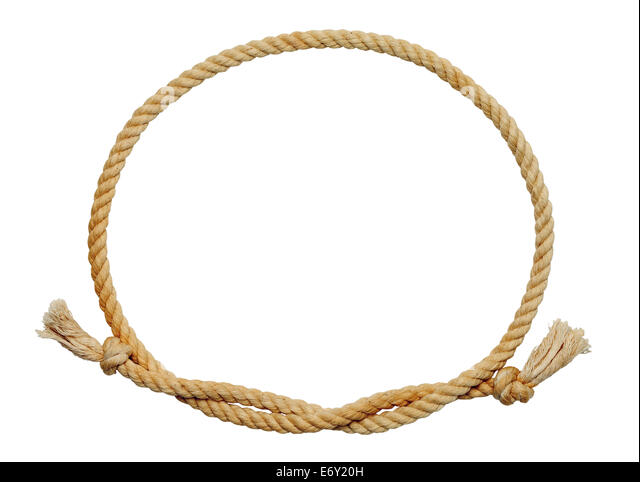 old dirty rope oval frame isolated on white background stock image
