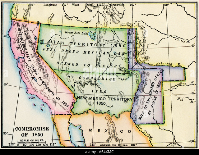 Map Showing The Expansion Of Slavery In Western Us Territory After The Compromise Of 1850
