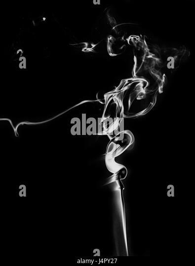 White Fantasy Smoke On Black Background Close Up   Stock Image