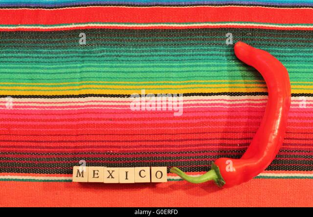 Mexican Handwoven Rug Poncho Fiesta With Stripes   Stock Image